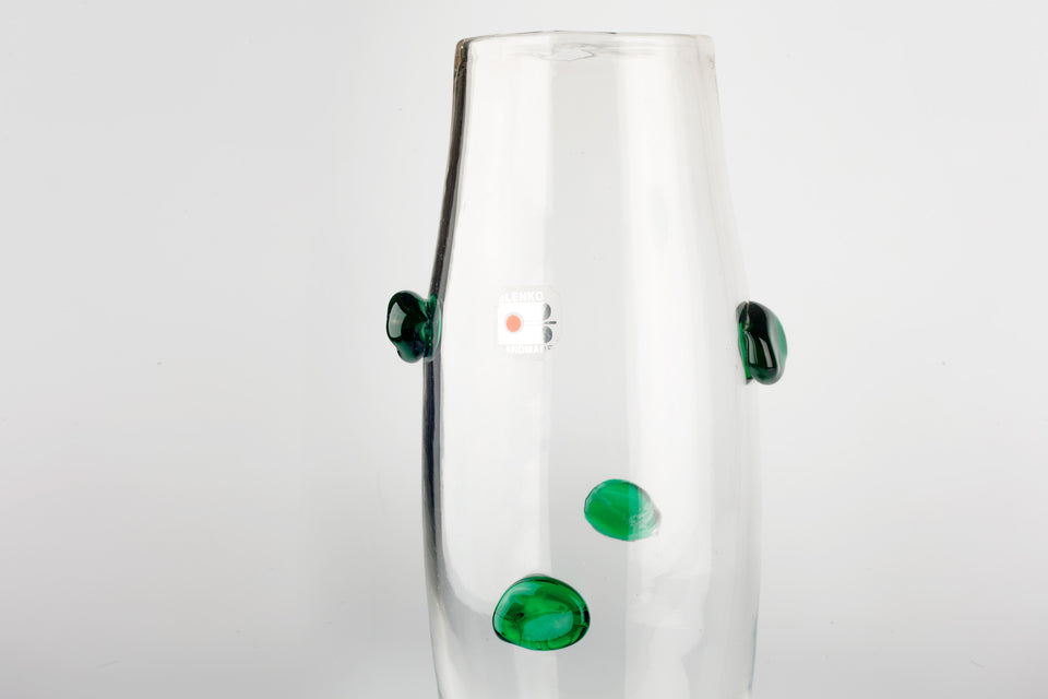 Green and clear, large, handblown glass vase made by Blenko.