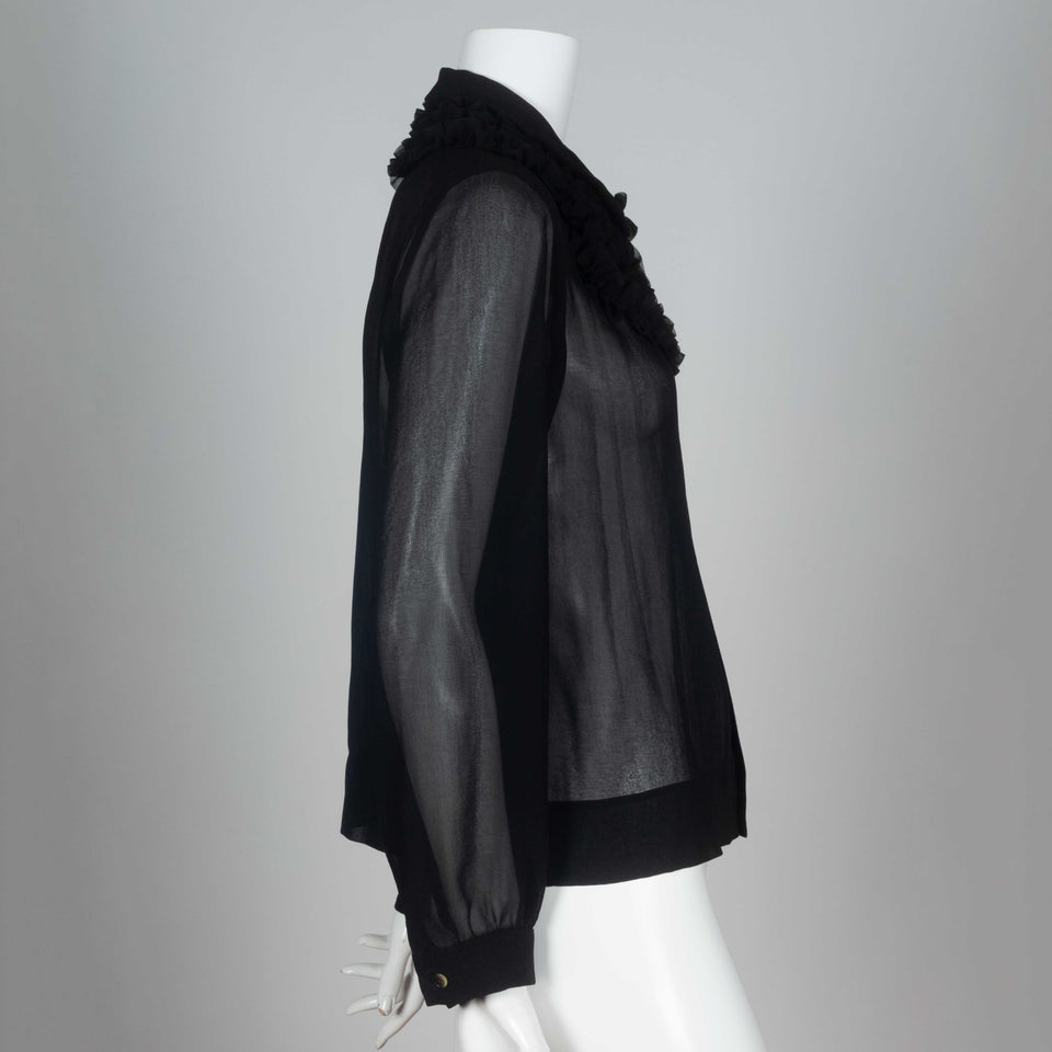 Comme des Garçons 1998 black chiffon blouse from Japan with long point collar and ruffle.