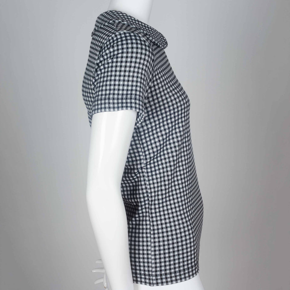 CDG black and white checkered tee from 1996 with peter pan collar.