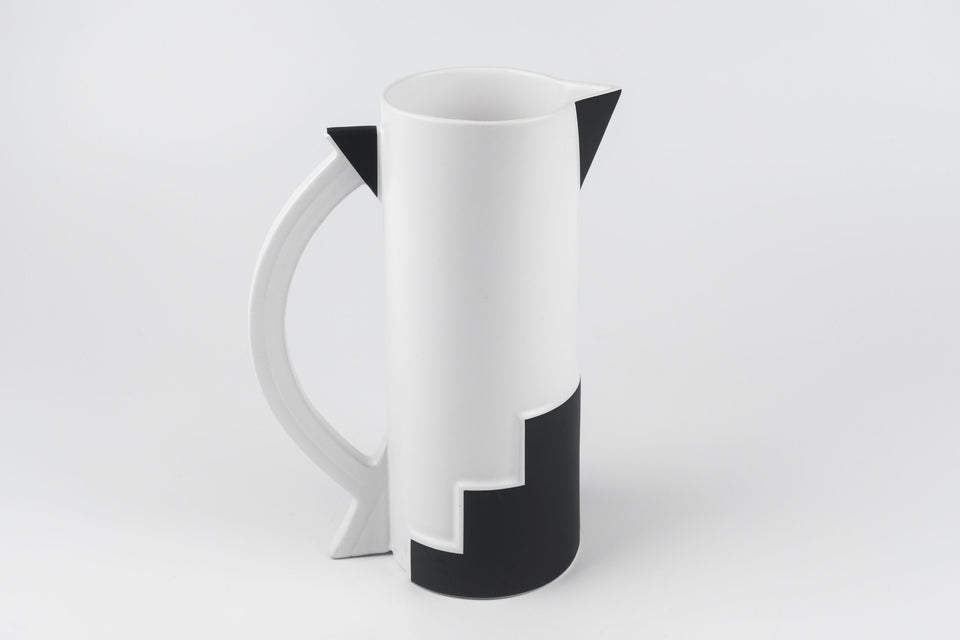 Black and white art deco inspired carafe from 1980s Japan, designed by Kato Kogei for Fujimori.