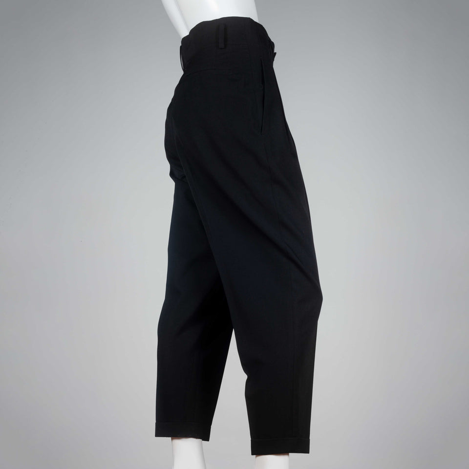 Comme des Garçons 1995 high-waist black cotton trousers from Japan.