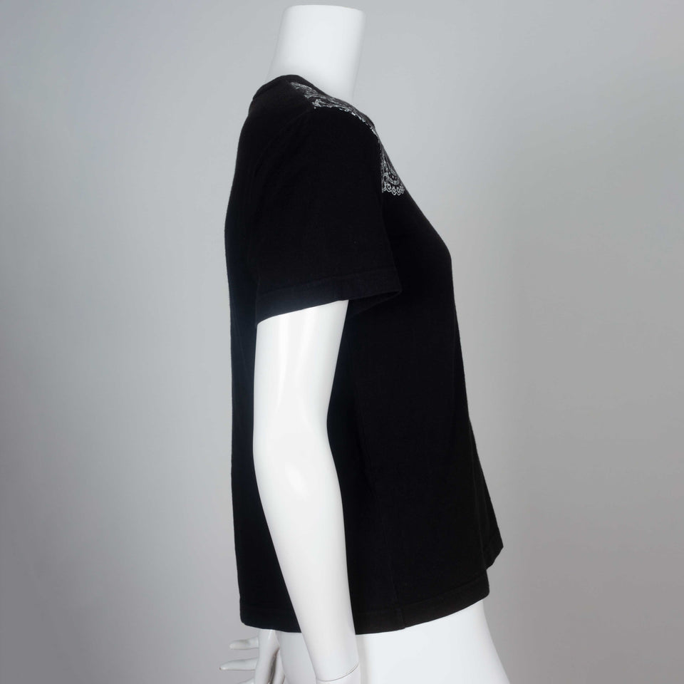 Comme des Garçons 2006 black tee from Japan with lace motif around collar.