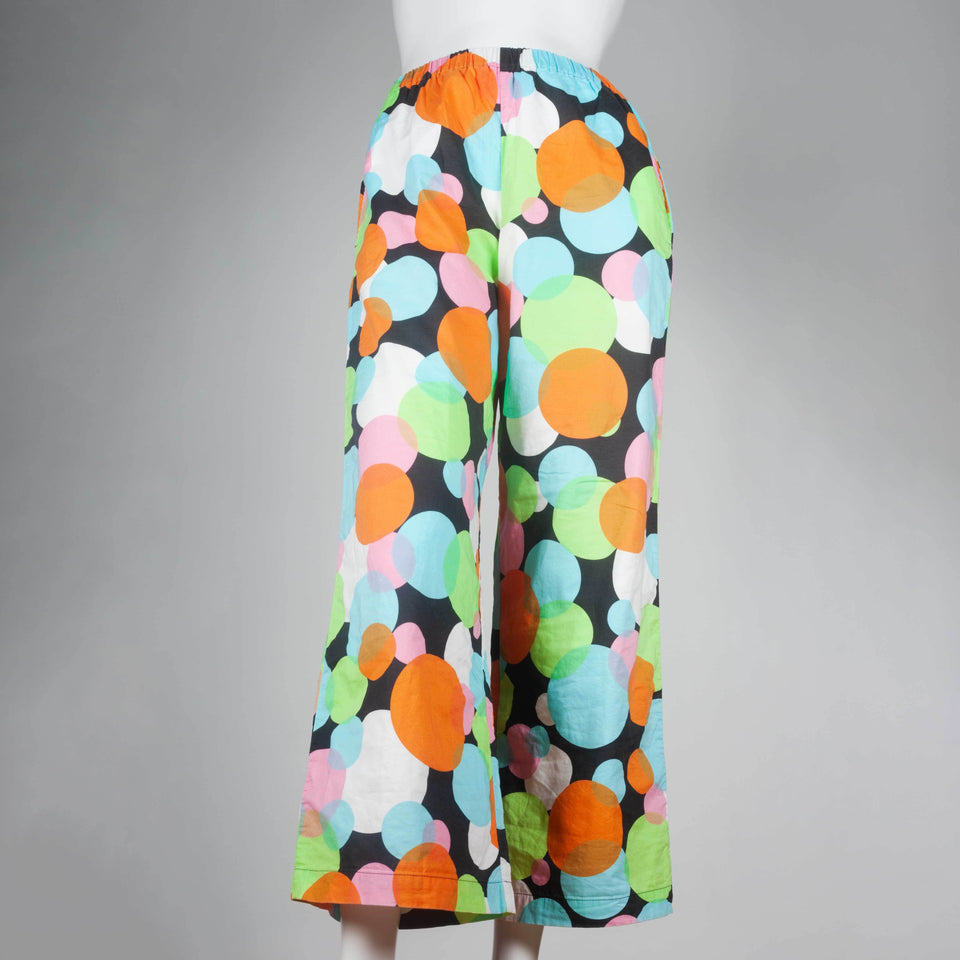 Comme des Garçons 2003 cotton pants from Japan with colorful circles.