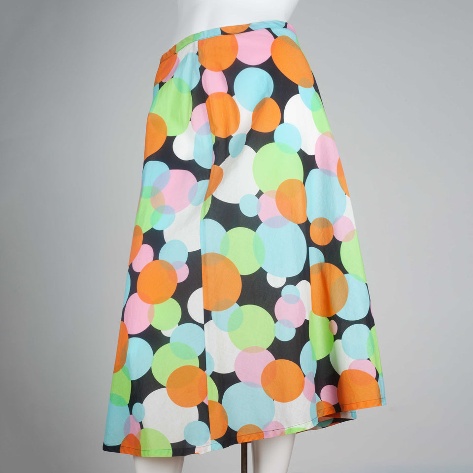 Comme des Garçons 2003 cotton skirt from Japan with colorful circles.