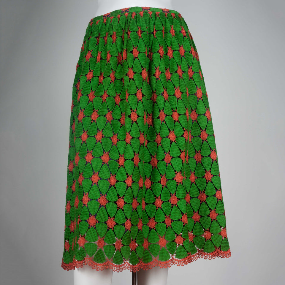 Comme des Garçons green and orange guipure lace skirt from Japan.