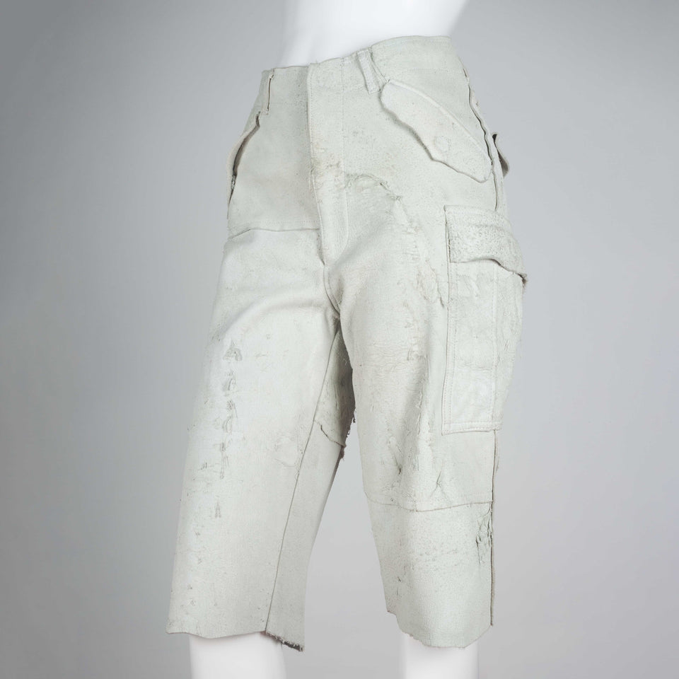 Comme des Garçons 2002 distressed off-white leather pants from Japan.