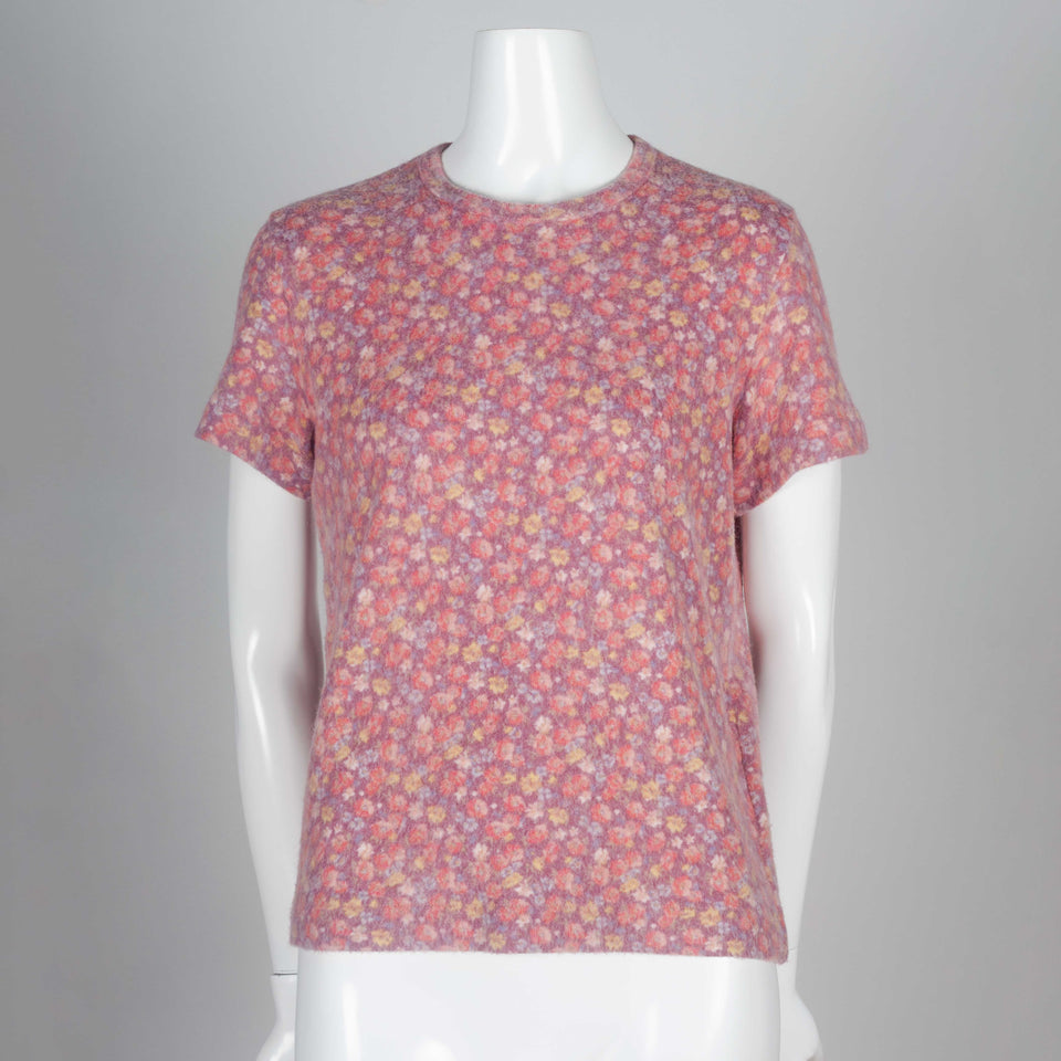 Comme des Garçons mauve short sleeve sweater tee with floral pattern.