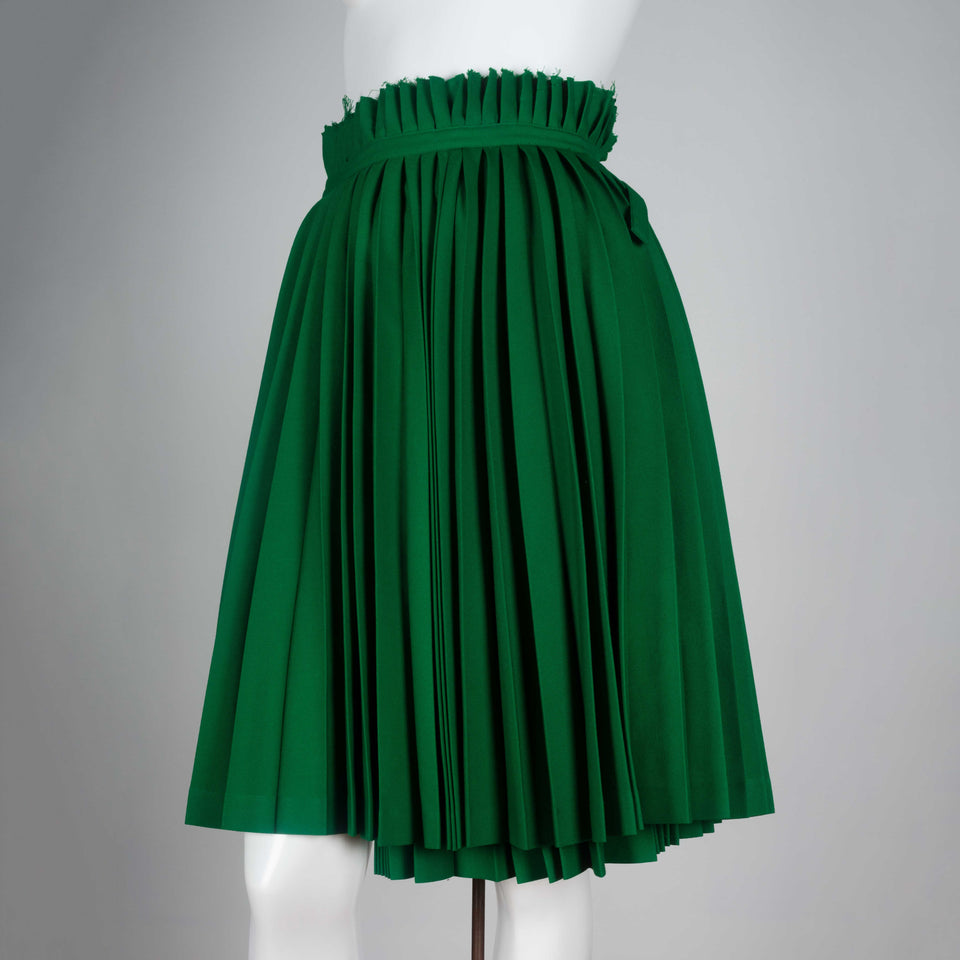 Comme des Garçons 1998 pleated wool wrap skirt in green from Japan.