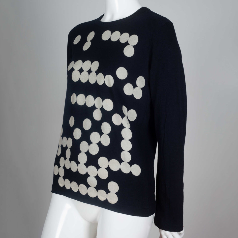 Comme des Garçons 2009 black, long sleeve t-shirt from Japan with a design of off-white dots that recall the game of Go.