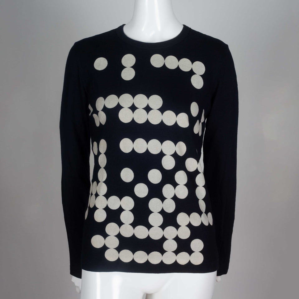 Comme des Garçons 2009 black, long sleeve t-shirt with circle design from Japan.
