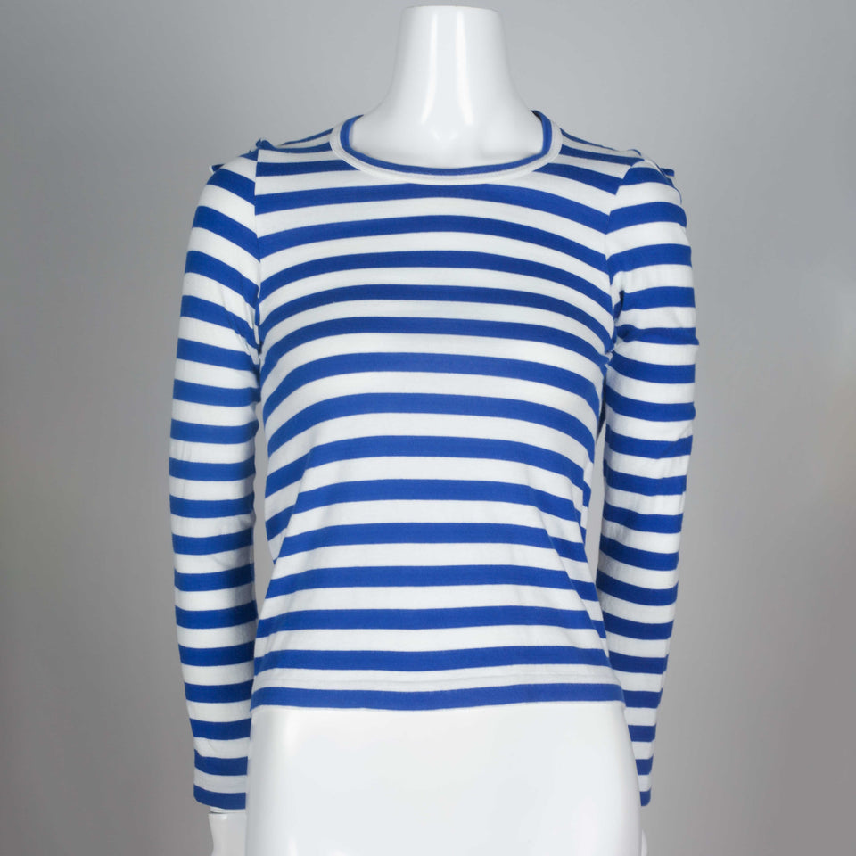 Comme des Garçons 2007 long sleeve blue horizontal striped shirt cut in a square.