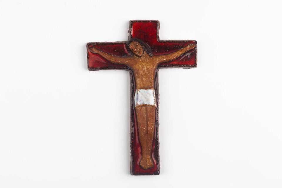 Midcentury European wall cross in glazed red paint and natural red clay Christ figure in relief.