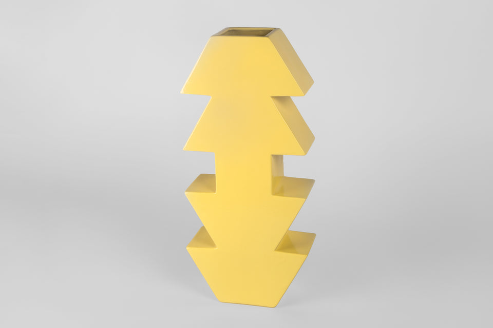 Yellow 1990s postmodern vase by Florio Paccagnella.