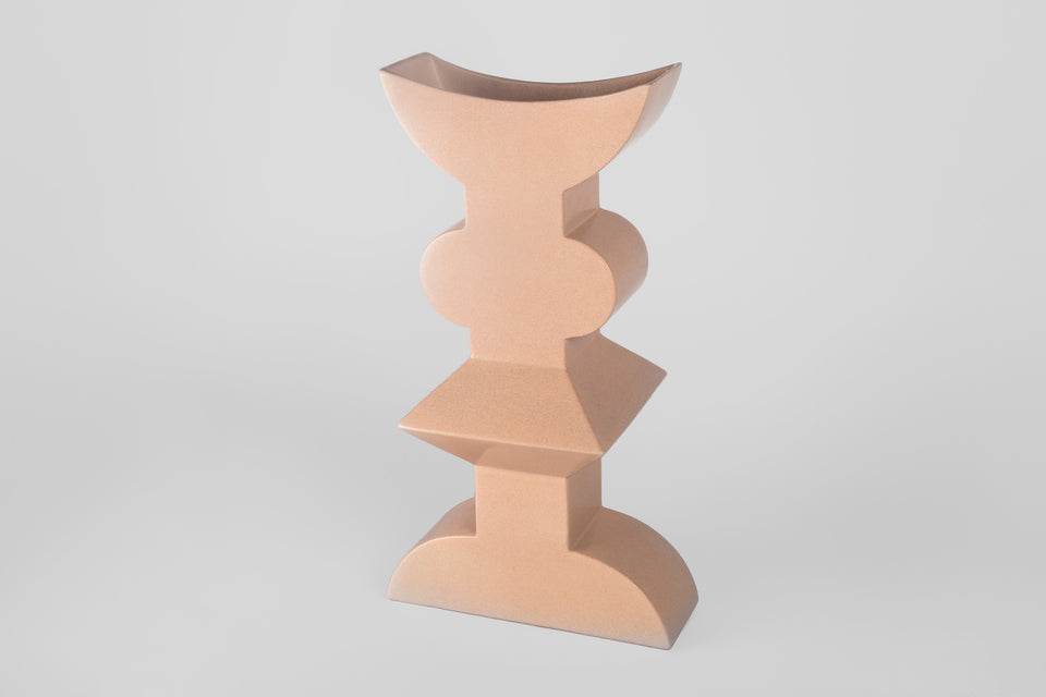 Postmodern 1990s pink ceramic vase by Florio Paccagnella.