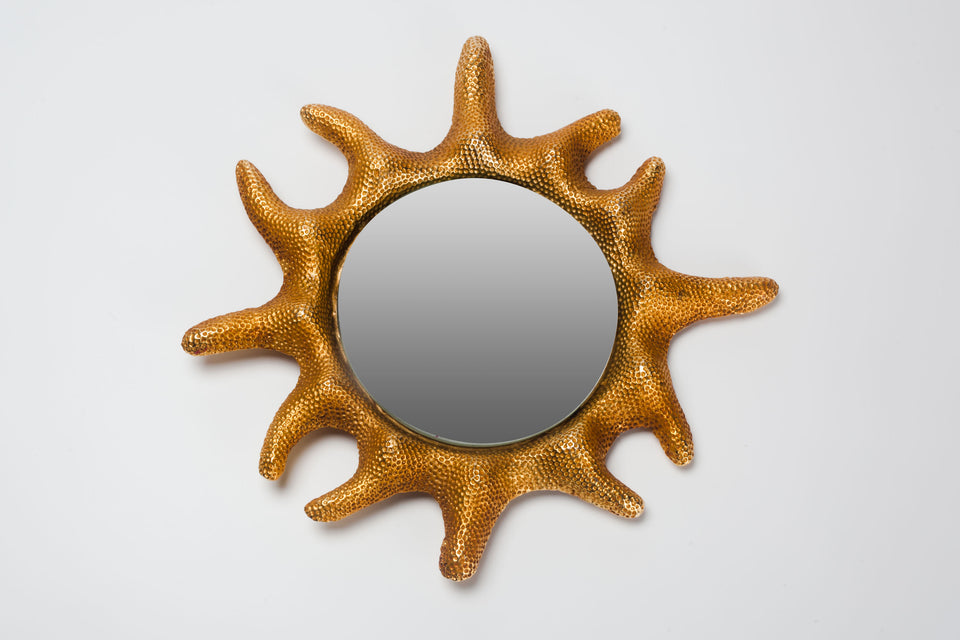 Round wall mirror framed in gilt bronze, made in France in 1995 and designed by Stéphane Galerneau for Fondica.