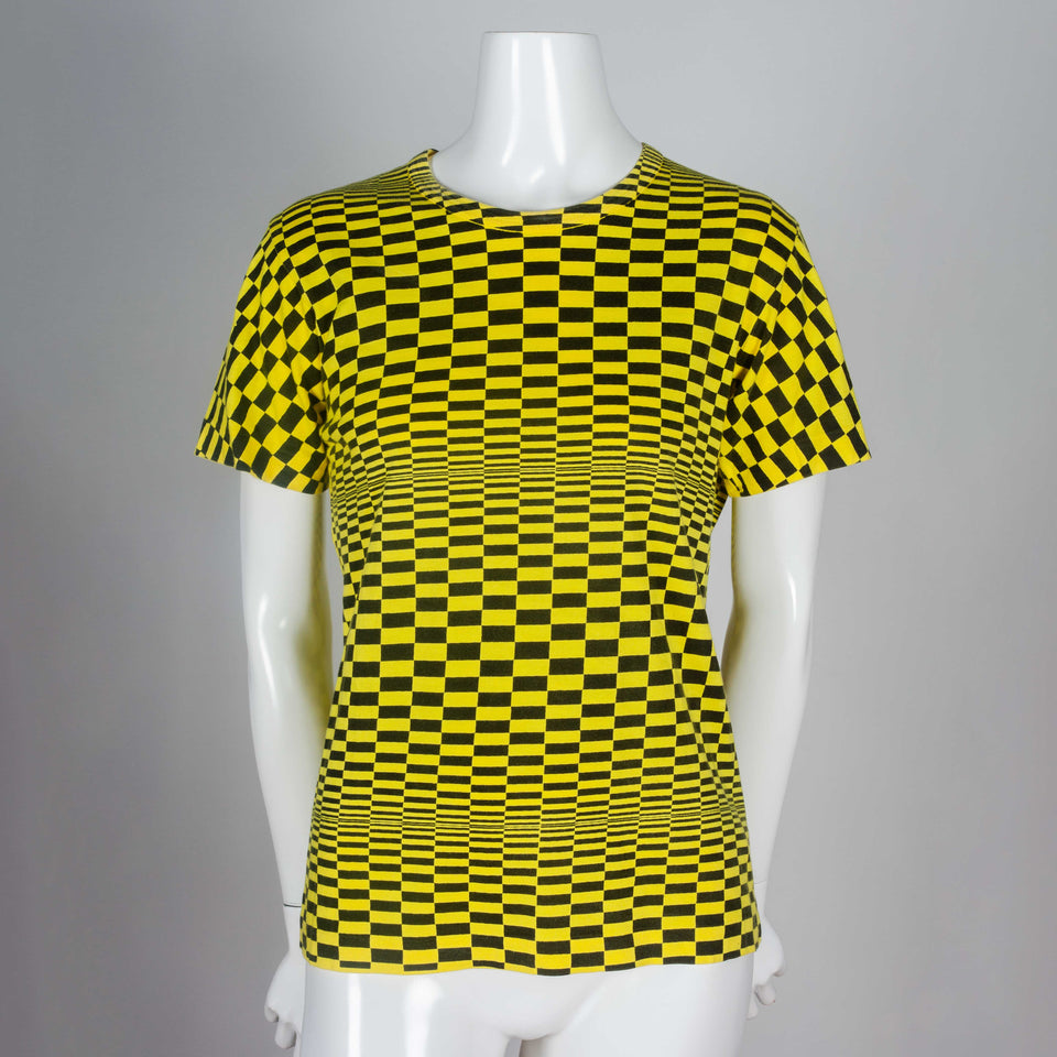 Comme des Garçons 2000 archive from Japan, a neon yellow and black, screen-printed, checker patterned cotton t-shirt.