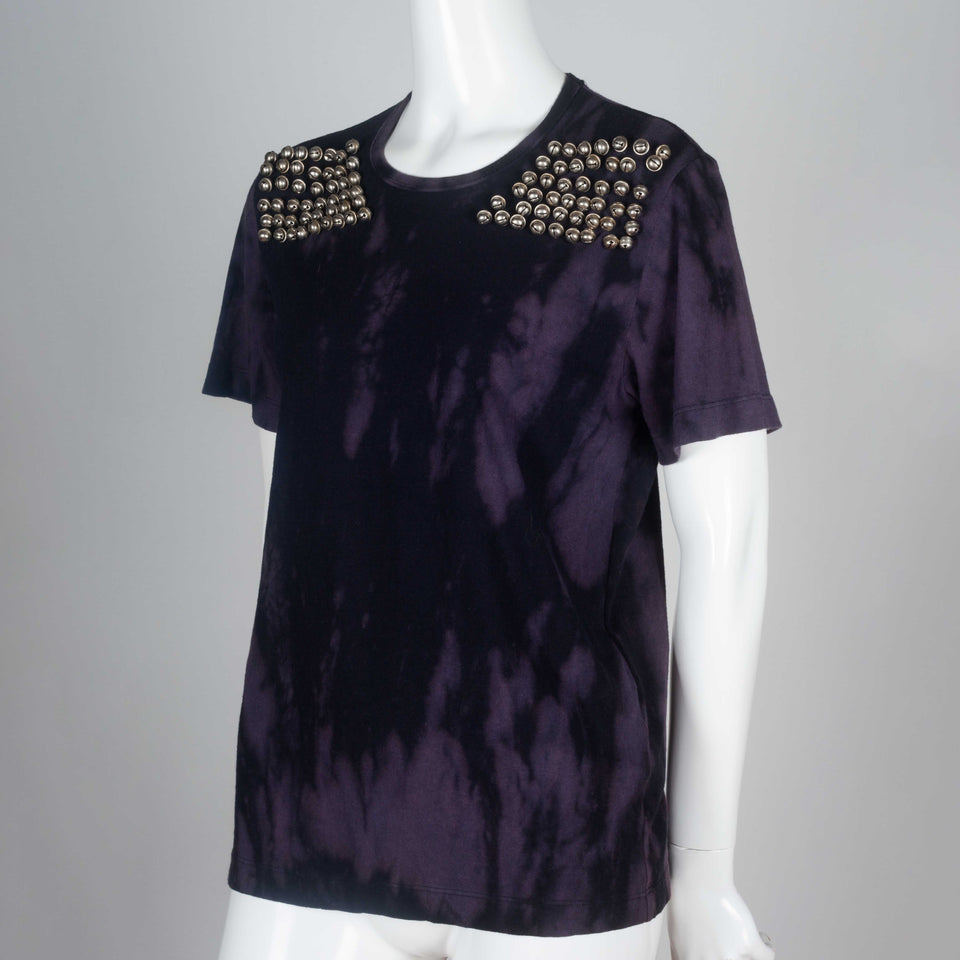 Junya Watanabe x Comme des Garçons 2004 tee from Japan in purple and black tie dye, and embellished with six rows of bells on the front shoulders.