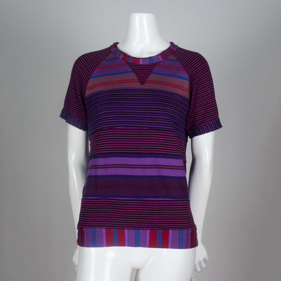 Comme des Garçons Tricot, 2003. A purple, blue and red vintage archive tee from Japan with multi-directional, horizontal stripes and raglan sleeves.