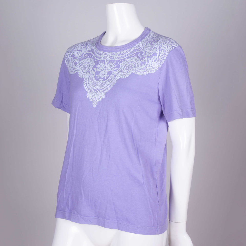 Comme des Garçons 2006 purple short sleeve t-shirt from Japan with lace motif around collar.