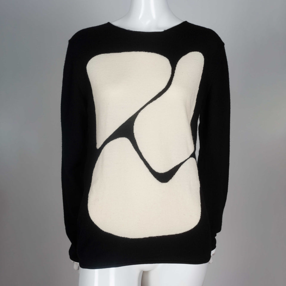 Comme des Garcons black, long sleeve wool shirt with off-white abstract shapes design.