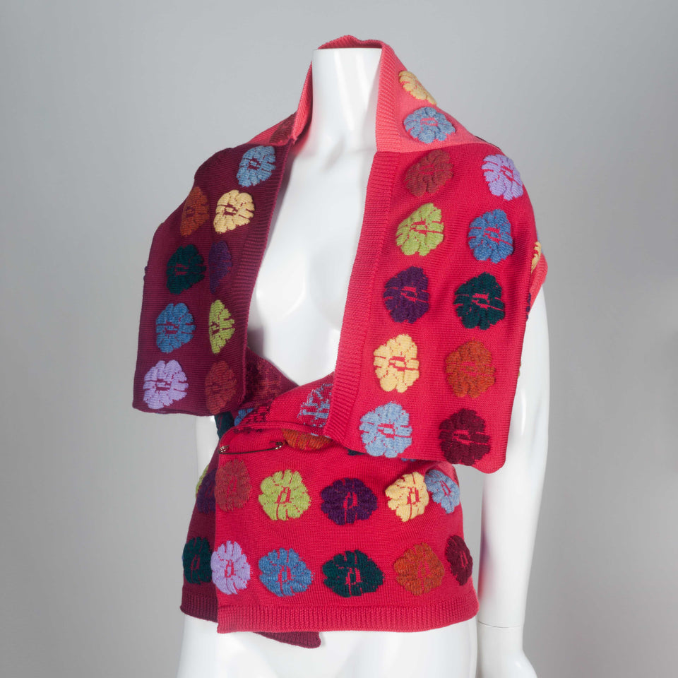 Comme des Garçons 1999 colorful wool wrap sweater from Japan.