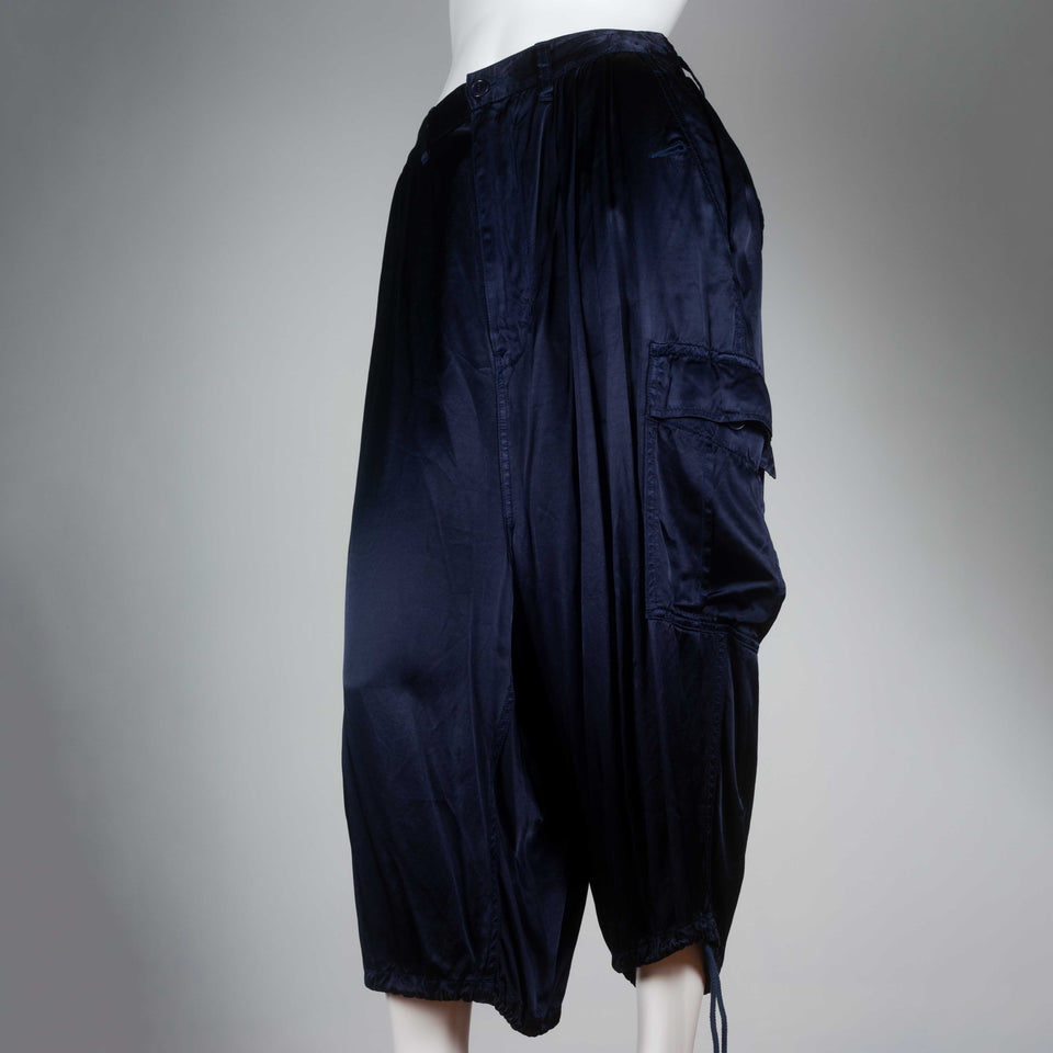 Junya Watanabe Comme des Garçons dark blue satin cargo pants from Japan.