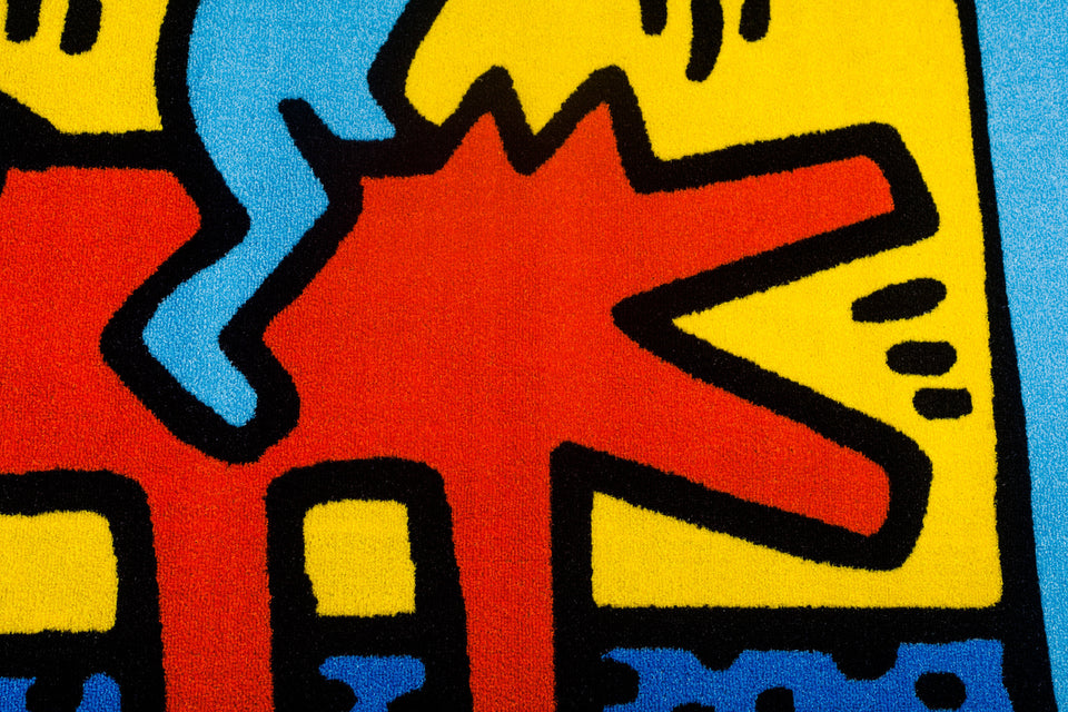 KEITH HARING Rug, Dancing Figures on Dog, Italy