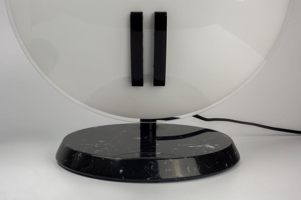 Table Lamp Perla by BRUNO GECCHLIN for O LUCE, Black Marble and White Glass, Italy, 1980s