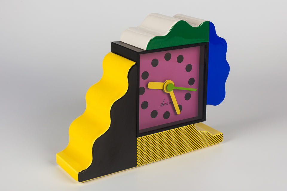 Ceramic table clock by Memphis designers George Sowden and Nathalie du Pasquier for Neos.