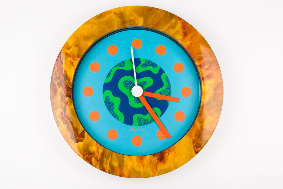 Postmodern Wall Clock by George Sowden and Nathalie du Pasquier, Neos by Lorenz, 1980s Italy.