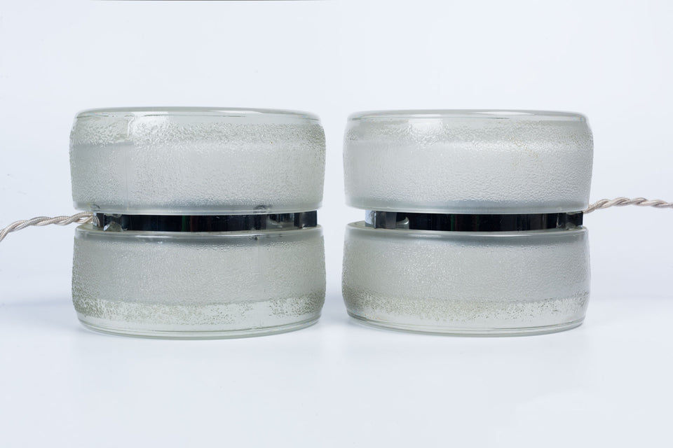 Pair of vintage Fontana Arte YoYo lamps made of pressed glass, circa 1971.