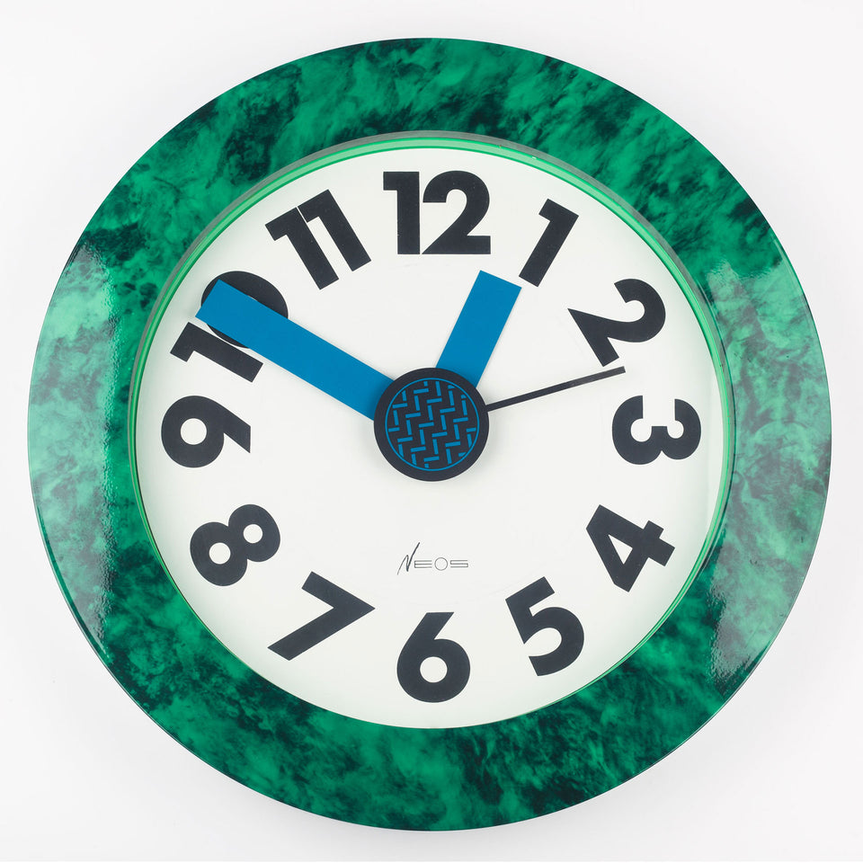 1980s Neos clock with green marble print frame by designers Nathalie du Pasquier and George Sowden.