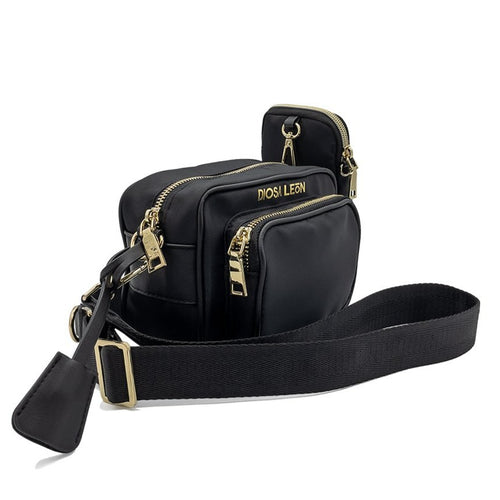 Black Crossbody Bag  with gold hardware - Diosa León