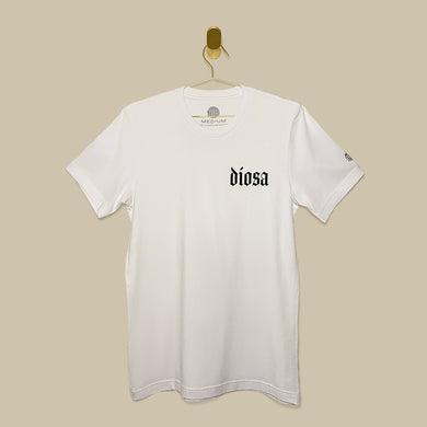 White T-Shirt with Diosa text  on left side of the chest