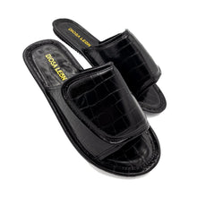 Black Crocodile Slide Sandal