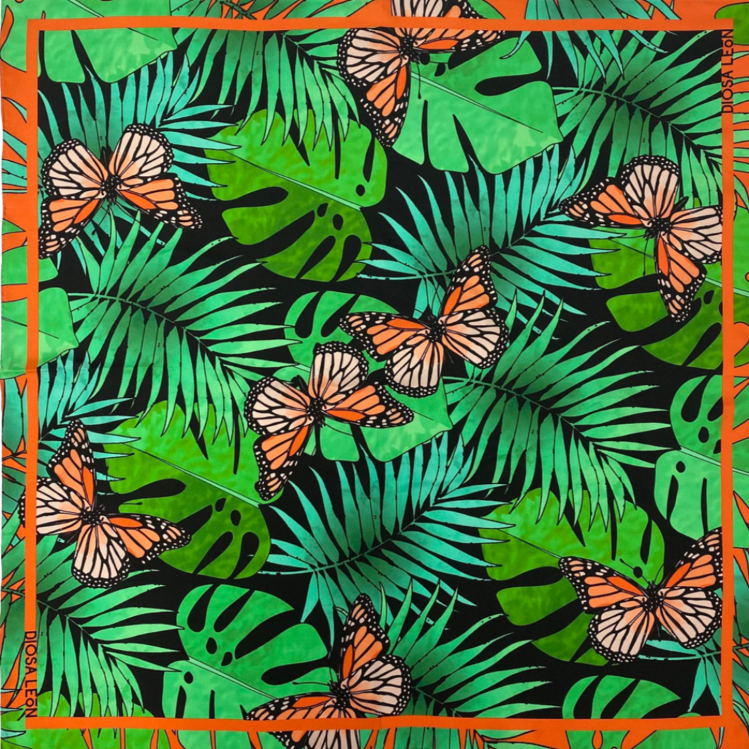 Diosa León-Michoacán Silk Scarf - Monarch Butterflies and palm fronds
