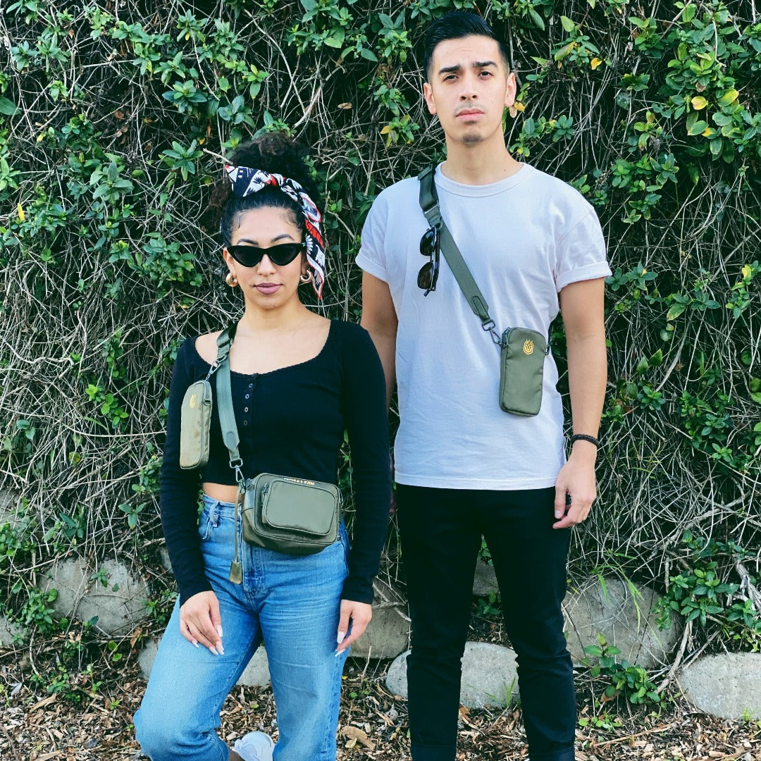 Olive Crossbody on Female and Male Models