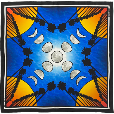 Diosa León Silk Scarf-Palm Trees with Moon phases