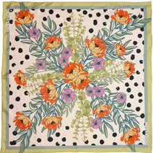 Floral and polka dot silk scarf