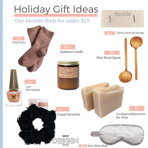 New Origin Shop Holiday Gift Guide Favorite Gifts Under $25
