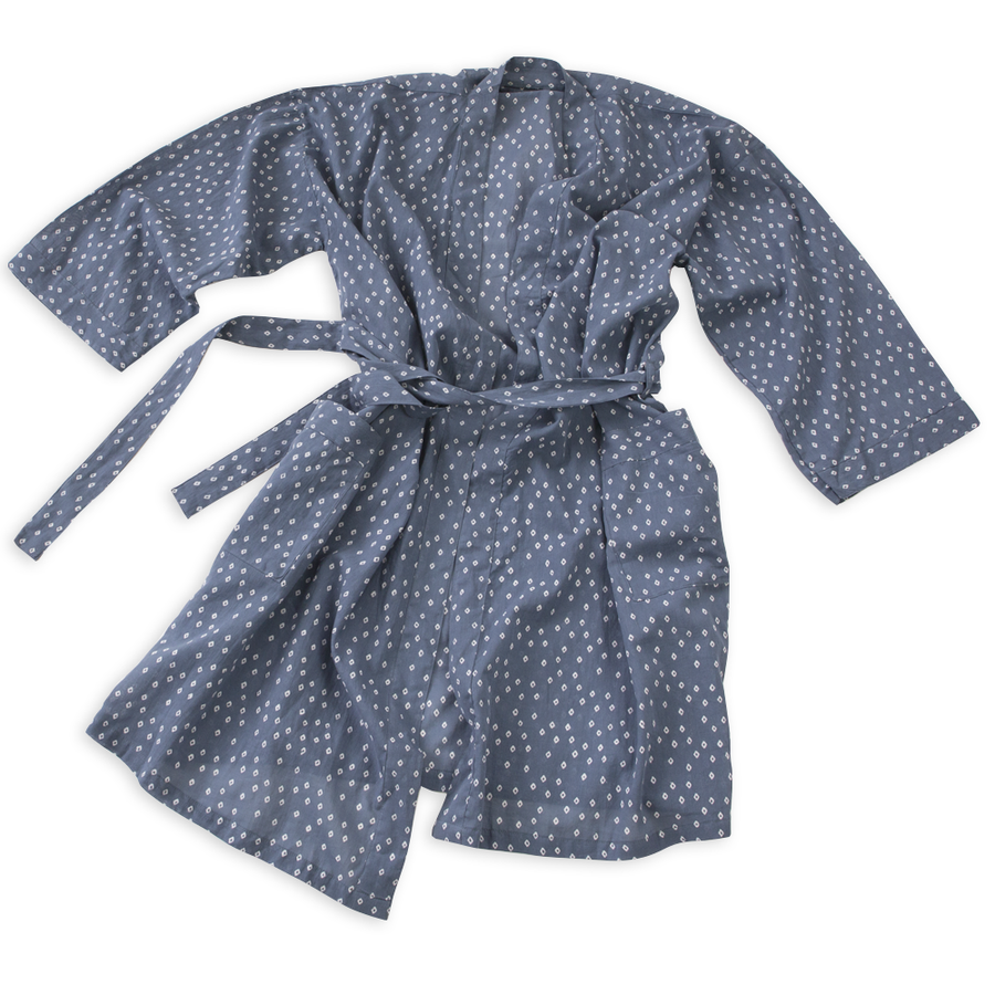 Troye Ocean Block Printed Cotton Robe