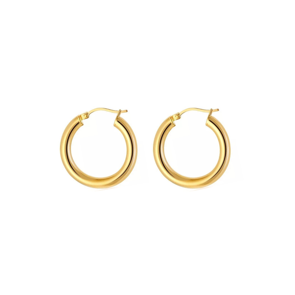medium thick gold hypoallergenic hoop earrings