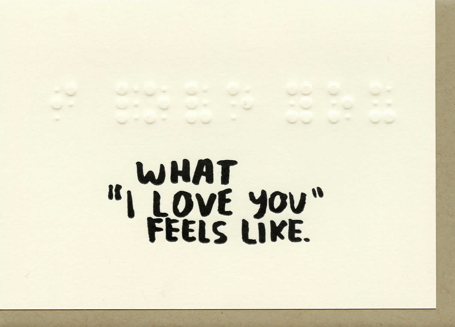 what i love feels like sensory letterpress card austin small business