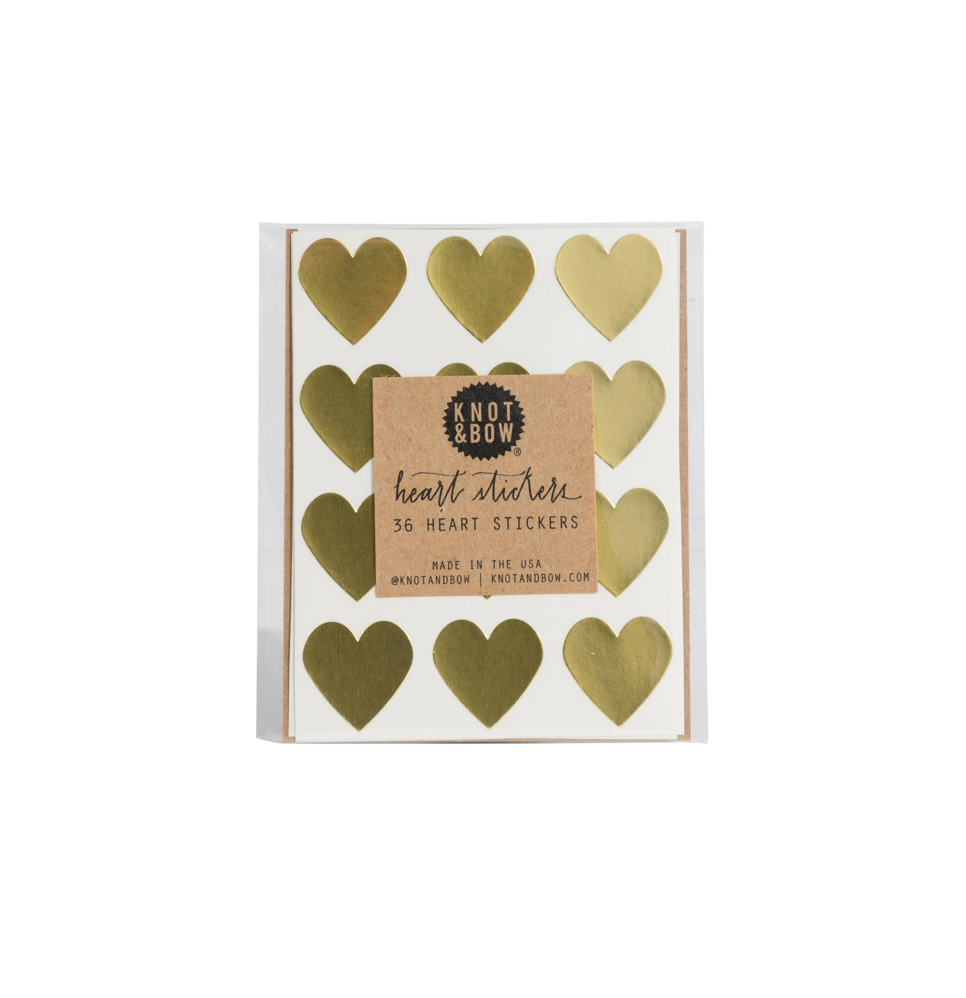 Knot & Bow - Gold Heart Stickers