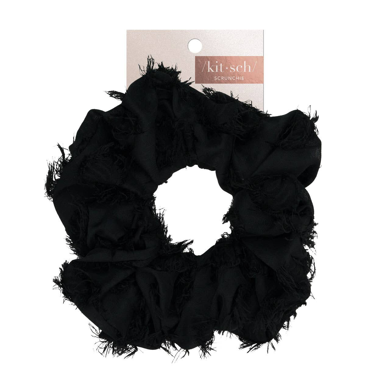 black satin frilled hair scrunchy