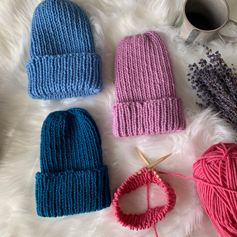 Custom Color-Newborn- Adult Ribbed Beanie Hat