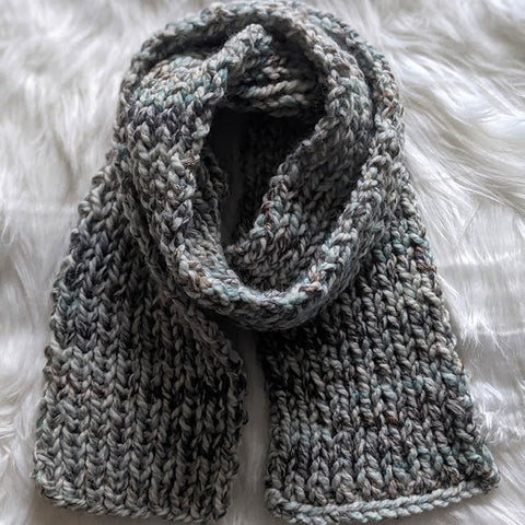 hand knit fisherman ribbed wool blend scarf