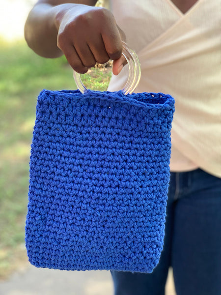 Blue Crochet Handbag with Clear Handle