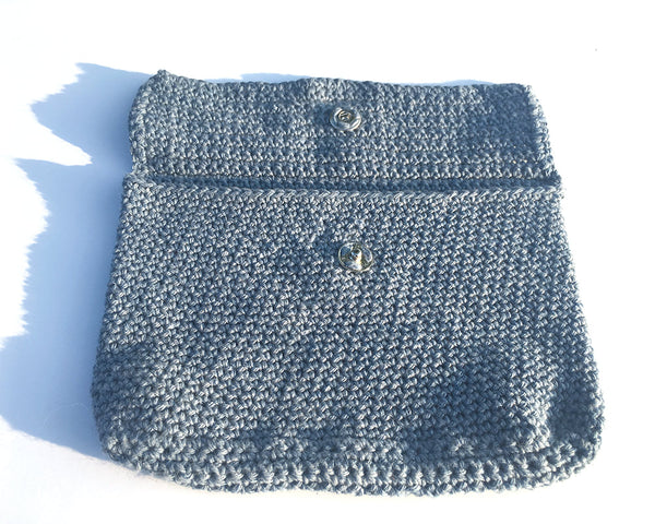 Blue Denim Crochet Clutch