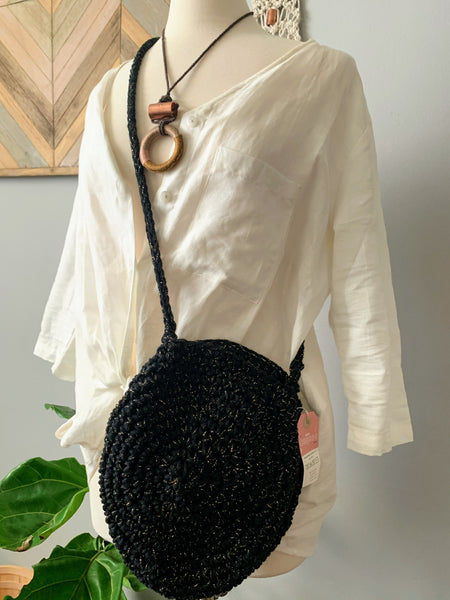 Circle Black Gold Speck Crochet Bag - New Origin Shop LLC
